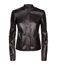 Armani Collezioni Textured Leather Jacket Female Black