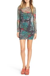 Missguided Women's Tropical Print Mesh Body Con Dress Multi