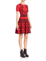 Alexander Mcqueen Floral Jacquard Knit Fit And Flare Dress Poppy Red