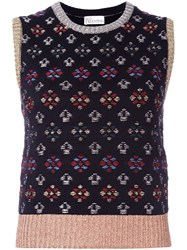 Red Valentino Embroidered Sleeveless Knitted Top Metallic