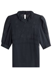 See By Chloe Short Sleeved Top With Embroidery Blue