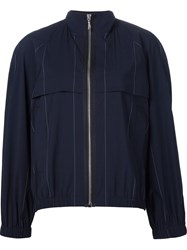 Alexander Wang Pinstriped Bomber Jacket Blue