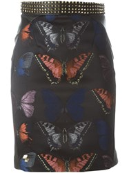 Philipp Plein Butterfly Print Pencil Skirt Black