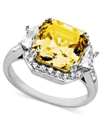 Arabella Sterling Silver Ring Yellow And White Swarovski Zirconia Cushion Cut Ring 10 1 3 Ct. T.W.