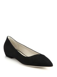 Giorgio Armani Asymmetrical Suede Point Toe Flats Black