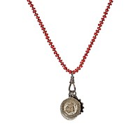 Miracle Icons Men's Coral Rondelle And Triple Pendant Necklace Red