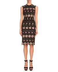 Givenchy Sleeveless Floral Embroidered Sheath Dress Black