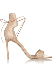 Reed Krakoff Mesh Trimmed Patent Leather Sandals