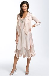 Women's Komarov Beaded Pleated Charmeuse Dress And Jacket Pink Champagne