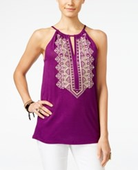 Inc International Concepts Embroidered Keyhole Halter Top Only At Macy's Purple Paradise