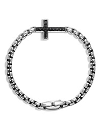 David Yurman Pave Cross Bracelet With Black Diamonds Black Silver