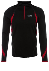 Gore Running Wear Air Zip Long Sleeved Top Black Red White