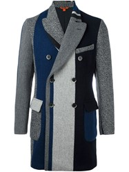 Barena Striped Double Breasted Coat Blue