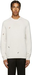 Alexander Mcqueen Ivory Cashmere Distressed Sweater