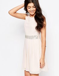 Club L Embellished Detail Chiffon Babydoll Dress Nude Pink