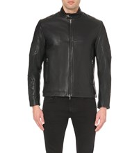 Reiss Brahms Leather Biker Jacket Black
