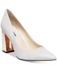 Steve Madden Women's Pointer Pointed Toe Block Heel Pumps Women's Shoes Grey Leather