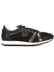 Armani Jeans Perforated Metallic Strapped Sneakers Black