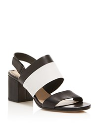 Via Spiga Jamilla Slingback Mid Heel Sandals Black White