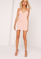 Missguided Petite Strappy Plunge Bodycon Dress Nude Beige