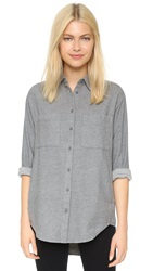 Madewell Flannel Button Down Shirt Heather Medium Grey