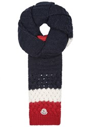 Moncler Chunky Knit Wool Blend Scarf Multicoloured
