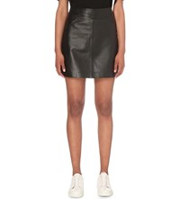 Whistles A Line Leather Skirt Black