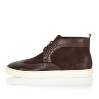 River Island Mens Brown Suede And Leather Brogue Boots