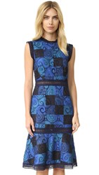 Sea Print Lace Sheath Dress Blue
