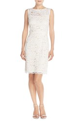 Women's Ellen Tracy Belted Lace Sheath Dress Ivory