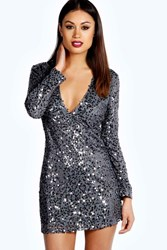 Boohoo Deep Plunge Sequin Bodycon Dress Pewter