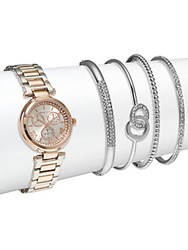 Adrienne Vittadini Crystal Stainless Steel Bracelet Watch And Bangle Bracelet Set Rose Gold