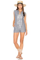 Lucca Couture Lace Up Cut Off Romper Blue