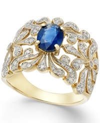 Effy Collection Effy Sapphire 1 3 8 Ct. T.W. And Diamond 1 3 Ct. T.W. Antique Ring In 14K Gold Yellow Gold