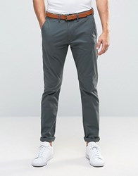 Selected Homme Slim Fit Belted Chinos Urban Chic Grey