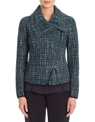 Nic Zoe Plus Dreamscape Knit Moto Jacket Blue Multi