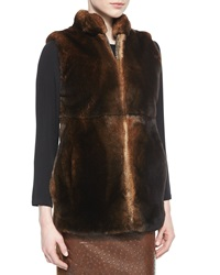 Max Mara Knit Back Fur Vest