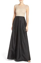 Adrianna Papell Women's Beaded Illusion Bodice Gown With Taffeta Skirt