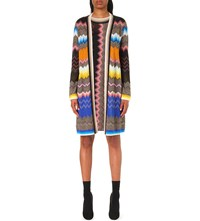 Missoni Open Front Chevron Knit Cardigan Black