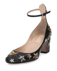Red Valentino Star Studded Low Heel Ankle Strap Pump Nero Al Campione Women's