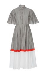 Vika Gazinskaya Color Block Pintuck Dress Grey White Red