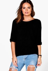 Boohoo Slouchy Roll Sleeve Jumper Black