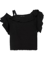 Proenza Schouler Asymmetric Tweed Top Black
