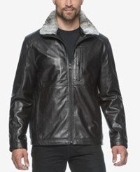 Marc New York Men's Chatham Leather Bomber With Rabbit Fur Collar Black