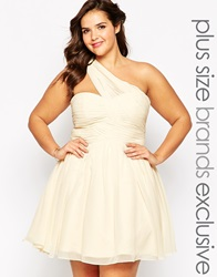 Forever Unique Plus Forever Unique One Shoulder Prom Dress Ivory