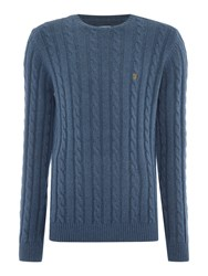 Farah Norfolk Cable Knit Crew Neck Jumper Blue