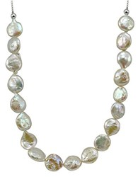 Lord And Taylor 12Mm White Round Coin Pearl Slider Necklace