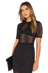 Twenty Boa Crochet Crop Top Black