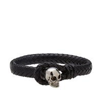 Alexander Mcqueen Woven Leather Skull Loop Bangle Black