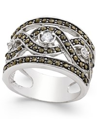 Inc International Concepts Silver Tone Crystal Braided Statement Ring Only At Macy's